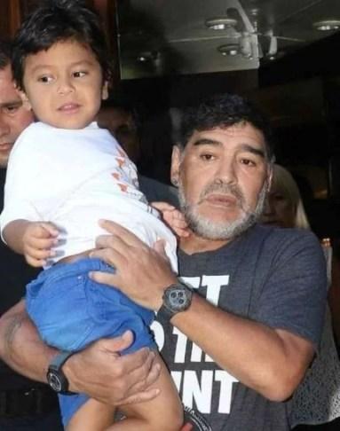 Diego Sinagra's half brother Diego Fernando with Diego Maradona