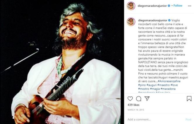 Diego Sinagra's Instagram post about his favorite musician Pino Daniele