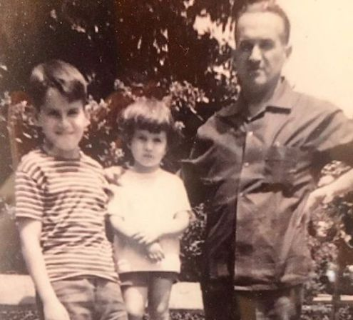 Childhood Picture of Lucia Galán with her Brother and Father