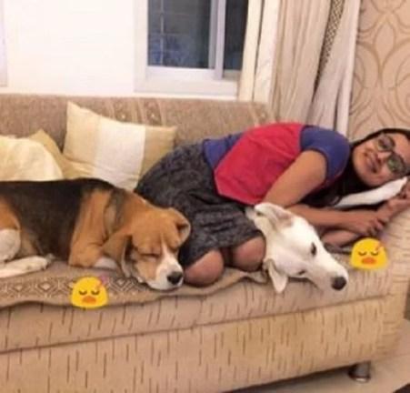 Mayuri Deshmukh with her Pet Dogs
