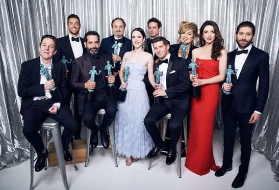 Rachel Brosnahan and her co-stars with their Screen Actors Guild Awards