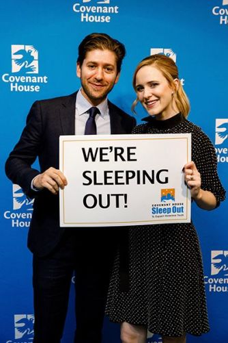 Rachel Brosnahan with her Husband at an Event Supporting Sleep Out Initiative of Covenant House