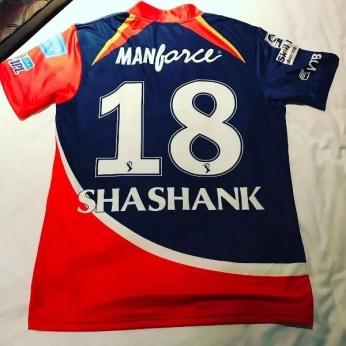 Shashank Singh's Delhi Daredevils jersey