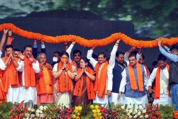 BJP leaders and former TMC leaders Suvendhu Adhikari and Rajib Banerjee, at a BJP's public rally at Domurjala Stadium in Howrah in January 2021