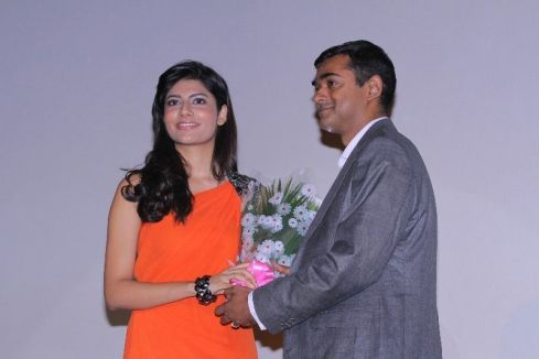 Vanya Mishra welcomed with flowers