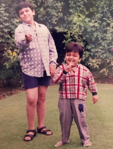 Jatin Sapru with his younger brother in Srinagar in 1994