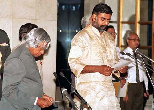 BJP leader Prahlad Singh Patel taking oath as the Union Minister of Coal and the then president of India AJP Abdul Kalam administering the oath at a Swearing-in-Ceremony in New Delhi on 24 May 2003