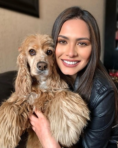 Andrea Meza with her pet dog