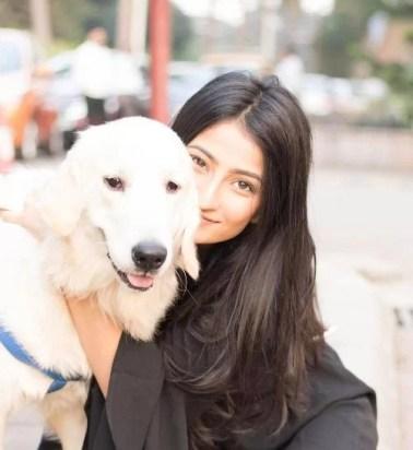 Palak Tiwari with a dog
