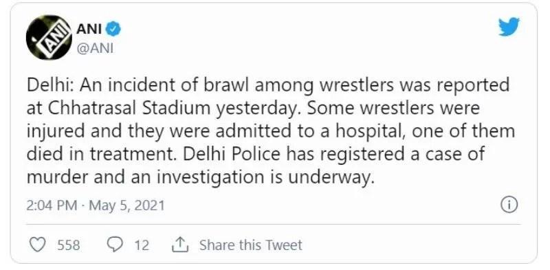 ANI's tweet on Sagar Rana case