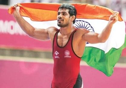 Sushil Kumar as the flag bearer during the 2012 London Olympics
