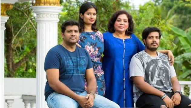 Unni Rajan P Dev with his mother and siblings