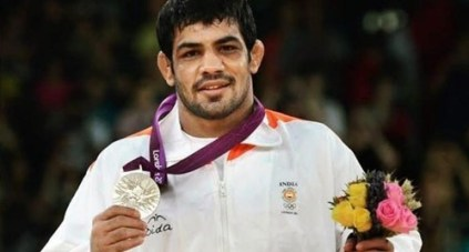 Sushil Kumar with his silver medal after the London Olympics