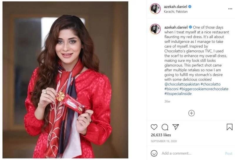 Azekah Daniel promoting a Pakistani chocolate brand