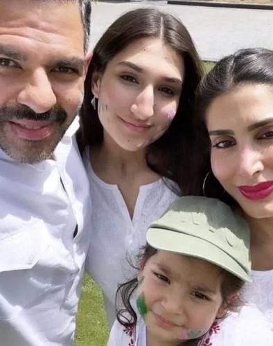 Sunjay Kapur with Priya Sachdev, his son, and his step-daughter
