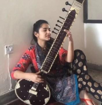 Yumna Zaidi playing the Sitar