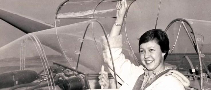 Wally Funk during an air race