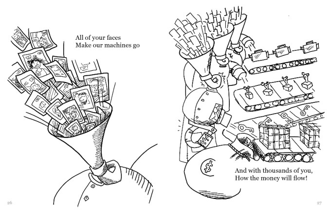 "A drawing split into two sides. The left side shows a pile of Polaroid selfies being sucked into a machine. The text reads, ""All of your faces Make our machines go"". The right side shows these machines spitting out the selfies as various items such as video cameras and keys. Stacks of money are traveling down the last conveyor belt into a bag labeled with the money sign. The text reads, ""And with thousands of you How the money will flow!"""