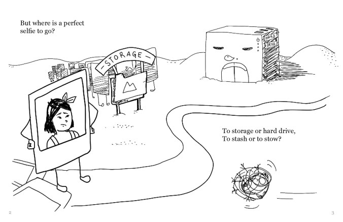 """A drawing with the selfie of the person with shoulder-length black hair on the left, standing on a path that winds around to the right side of the screen. To the left of the path a little further up is a file folder marked """"storage"""", with a group of other selfies behind it. Next to it on the right is a building marked """"hard drive"""". There is a tumbleweed passing through on the bottom of the picture. The text reads, """"But where is a perfect selfie to go? To storage or hard drive, To stash or to stow?"""""""