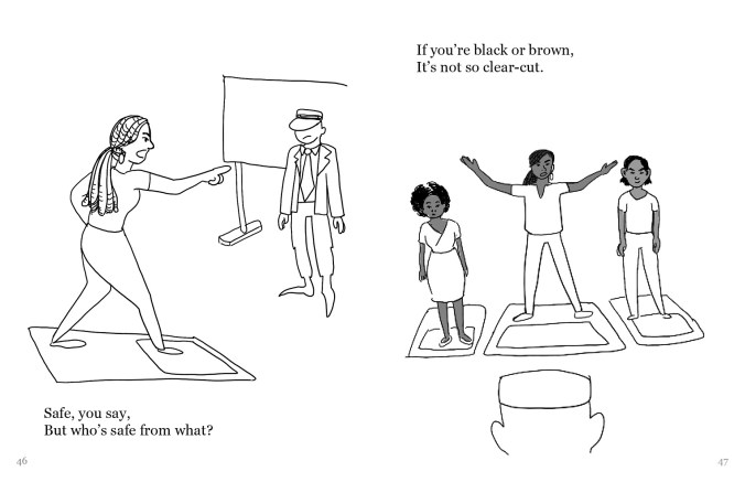 """A drawing with two frames. On the left, a Polaroid selfie steps out of its 2-dimensional frame and points to the operator. In the right frame, three dark-skinned folks also stand above their Polaroids and face the operator. The text reads, """"Safe, you say, But who's safe from what? If you're black or brown, It's not so clear-cut."""""""