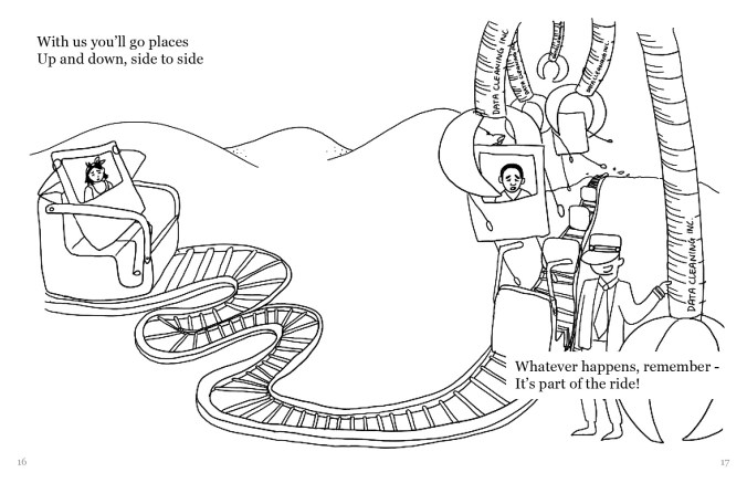 "A drawing of the same Polaroid selfie with arms and legs in a rollercoaster cart. The cart on a rollercoaster track, that looks like a conveyor belt. The track leads to the right, where giant claws are picking up other selfies out of their carts. The operator is standing next to a currently inactive claw that is labeled ""Data Cleaning inc."" The text reads, ""With us you'll go places Up and down, side to side Whatever happens, remember - It's part of the ride!"""