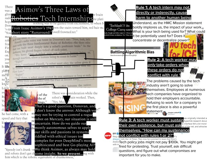 """Page 13 Asimov's Three Laws of Robotics Tech Internships From Isaac Asimov's 1941 short story """"Runaround:"""" (A photo of a page from the book follows, overlaid with black lines underlining the sentences underlined below.) Powell's radio voice was tense in Donovan's ear: """"Now, look, let's start with the three fundamental Rules of Robotics - the three rules that are built most deeply into a robot's positronic brain."""" In the darkness, his gloved fingers ticked off each point. """"We have: One, a robot may not injure a human being, or, through inaction, allow a human being to come to harm."""" """"Right!"""" """"Two,"""" continued Powell, """"a robot must obey the orders given it by human beings except where such orders would conflict with the First Law."""" """"Right!"""" """"And three, a robot must protect its own existence as long as such protection does not conflict with the First or Second Laws."""" """"Right! Now where are we?"""" (The black lines culminate in an arrow pointing at the following typed paragraph.) That's a good question, Donovan, and I don't know the answer. Although we may not be trying to control a rogue robot on Mercury, our situation is still uncertain. How do we guide our mostly autonomous selves to apply our skills and passions in systems riddled with ethical issues too complex for even DeepMind's most sophisticated and best Go-playing AI? We think Asimov, as always may hold some insight. So we present… (All of the above is overlaid over text from Asimov's writings, an illustration of an astronaut on an extraterrestrial planet, and a drawing of Isaac Asimov.) Page 14 Rule 1: A tech intern may not, directly or indirectly, cause harm to another human being. Understand, as the HMC Mission Statement boldly implores us, the impact of your work. What is your tech being used for? What could it potentially be used for? Does it concentrate or decentralize power? (Left: A screenshot of a news article titled """"'Techlash' Hits College Campuses."""" Below, right: A """"No Tech for ICE"""" poster. Below, left:"""