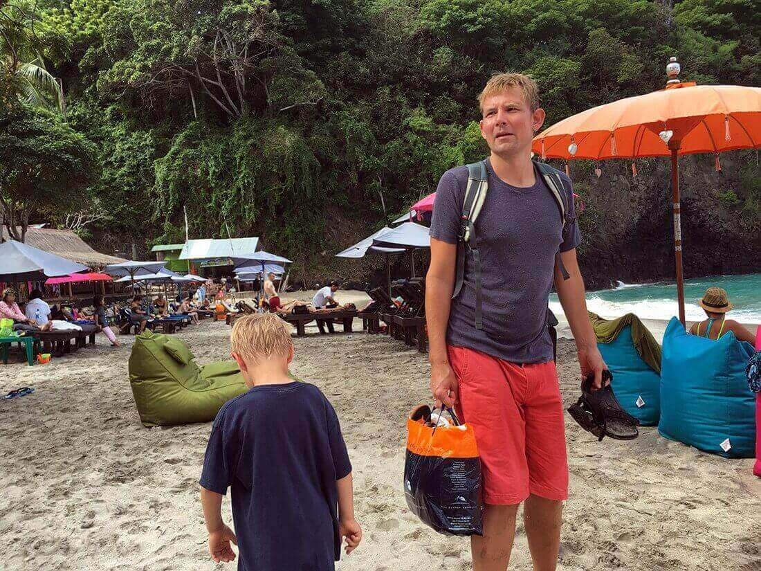 Peter and Sebastian at Virgin Beach, Bali