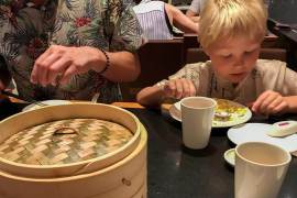 Peter and Sebastian eating dim sum at Din Tai Fung