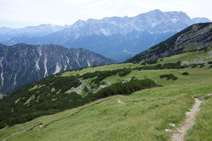 um dann über die Gipfelwiese in den feinen Singletrail mit Aussicht