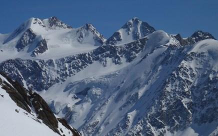 Pitztal Eisexpress, einiges an Blankeis in den Nordwänden von Taschachface, Petersenspitze, Brochkogel und Wildspitze. Im Uphill sieht's machbar aus, zum Runterfahren heikel
