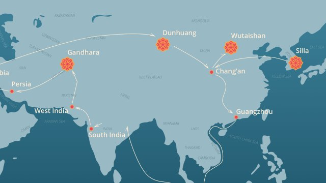detail from a map of Hyecho's journey, as seen in the iPad app