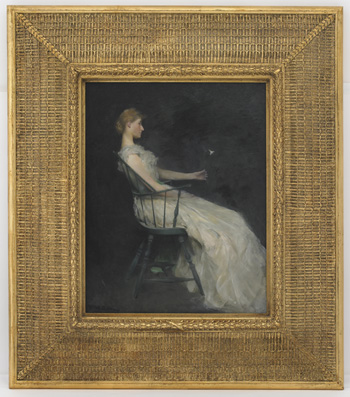 Painting of woman in chair facing right. Gold frame around painting.