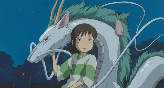 Little girl in striped shirt next to dragon (river spirit)