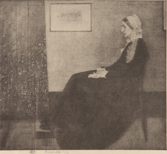 """Grayscale reproduction of """"Arrangement in Grey and Black No. 1,"""" depicting Whistler's mother wearing a long, heavy black dress, sitting in profile in front of a wall, with a framed picture and Japanese floral curtains to the left."""