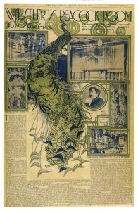 Full page newspaper ad with large green peacock in center.