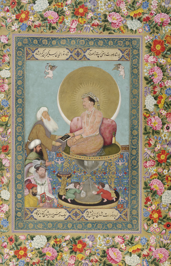 Floral border, with Jahangir Preferring a Sufi Shaikh (in center on pedestal) to Kings (on left) in center.