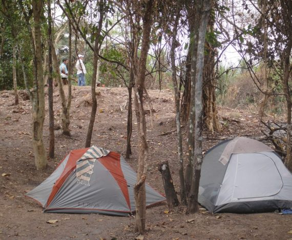 My tent, below the kiln mound, Cambodia.