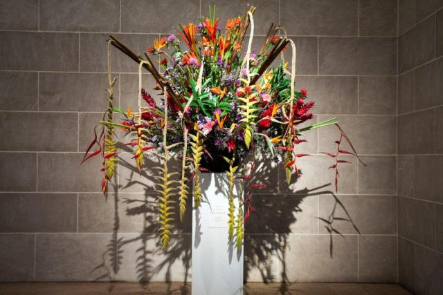 Flowers resembling fireworks, in the Sackler pavilion.