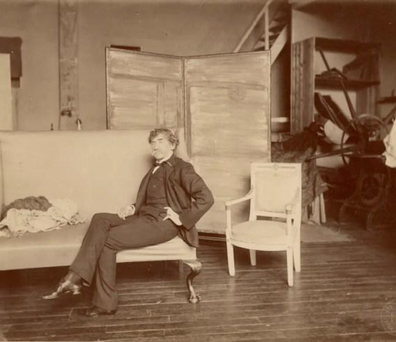 Whistler in his studio in Paris.