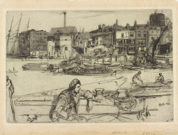 Black Lion Wharf, 1859, Etching and drypoint; Bequest of Mr. Samuel E. Stokes, Jr.; FSC-GR-619