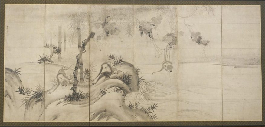 Monkeys and Trees on a Riverbank, left-hand screen