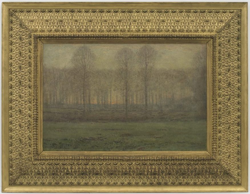 """Sunrise: April""; Dwight William Tryon; United States, 1897–99; oil on wood panel; Gift of Charles Lang Freer, F1906.79a–b"