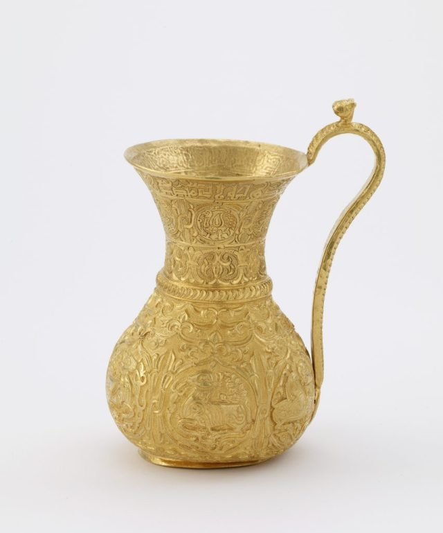 Gold ewer, inscribed with the name and titles of the Buyid ruler Izz al-Dawla Bakhtiyar ibn Mu°izz al-Dawla (r. 967–78); Iran, Buyid period, 966–77; gold with repoussé and engraved decoration; Freer Gallery of Art, Purchase; F1943.1