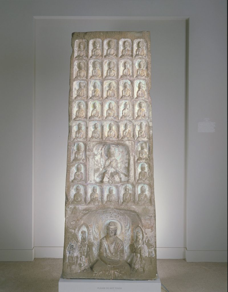 "Buddhist Stele with the ""Thousand Buddhas""; China, Northern Wei dynasty, dated 461 CE; sandstone with traces of polychrome pigment; Gift of Marietta Lutze Sackler; S1991.157"
