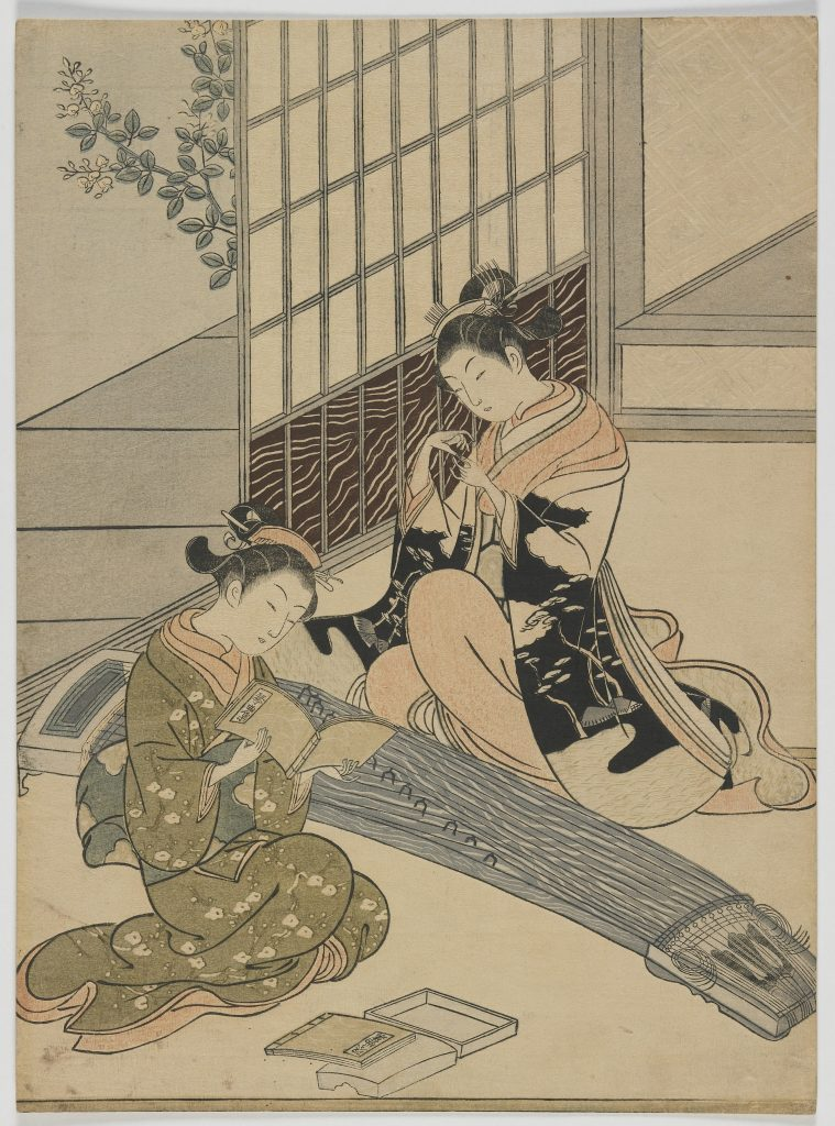 Descending Geese of the Koto; Suzuki Harunobu 鈴木春信 (1724–1770); Japan, Edo period, ca. 1766; woodblock print; The Anne van Biema Collection, S2004.3.21