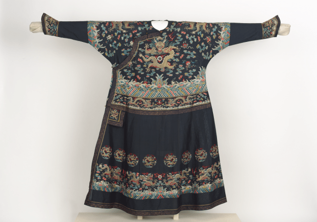 Prince's summer chaofu (formal court dress); China, Qing dynasty, 19th century, probably 1820–60; silk gauze, embroidery in silk and metallic-wrapped threads, gold-printed trim, metal buttons; 141 x 170.2 cm; Gift of Shirley Z. Johnson; Freer Gallery of Art, F2015.7