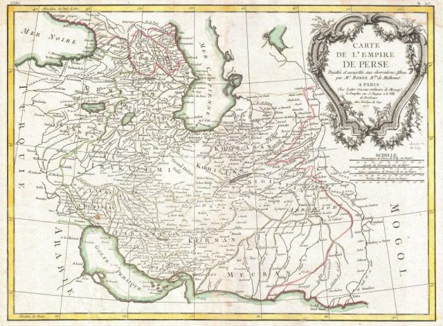 1771 Bonne Map of Persia (Iran, Iraq, Afghanistan). Geographicus Persia bonne 1771. Reproduced from www.antiquemaps-fair.com.