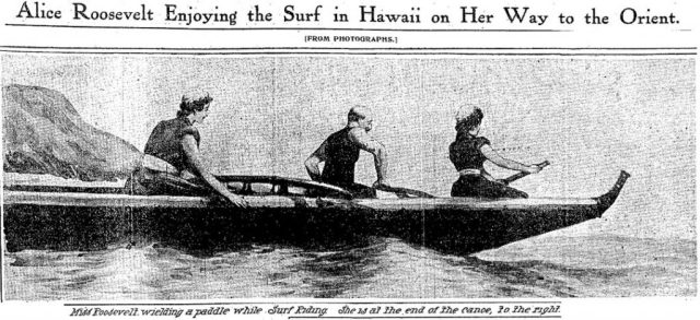Newspaper image of three people in a small rowboat; title: Alice Roosevelt Enjoying the Surf in Hawaii on Her Way to the Orient