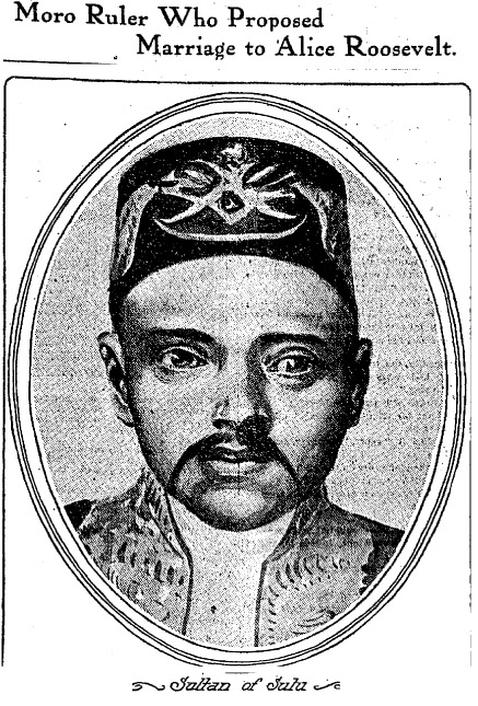 Illustration of the Sultan of Sulu's face, with headline: Moro Ruler Who Proposed Marriage to Alice Roosevelt