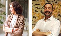 portraits of Massumeh Farhad and Simon Rettig